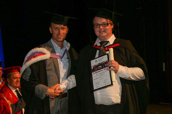 Former England cricket captain Nasser Hussain hands out degree awards at South Essex College graduation ceremony